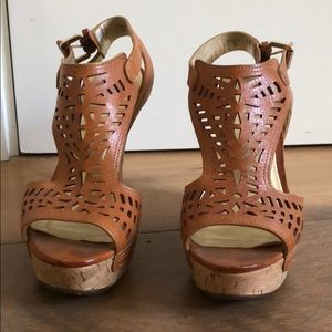 Brown leather cutout wedges